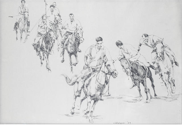 Ismail Gulgee (Pakistan, 1926-2007) Polo Players,