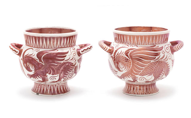 William De Morgan a Near Pair of Ruby Lustre Twin-Handled Vases with Beasts, circa 1890