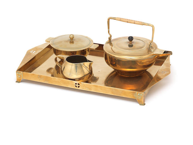 Jan Eisenloeffel A Three Piece Brass Tea Set on Tray, circa 1900