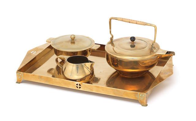 Jan Eisenloeffel A Three Piece Brass Tea Set on Tray, circa 1900