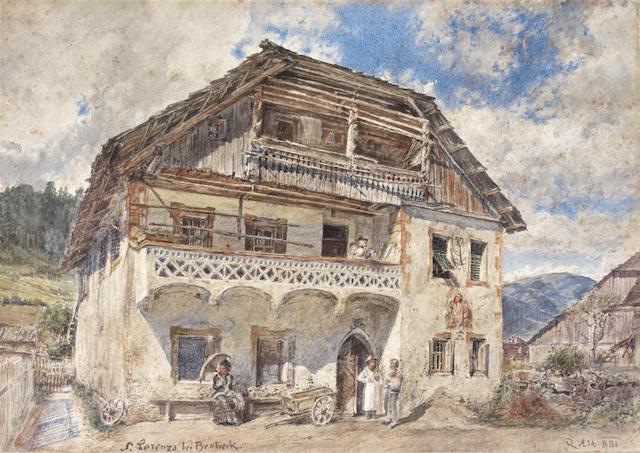 Rudolf Von Alt (Austrian, 1812-1905) St. Lorenzen  bei  Bruneck