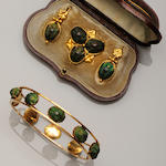 A collection of Victorian green scarab set jewellery (4)