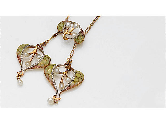 German a Jugendstil Plique-a-Jour Enamel and Gem-Set Necklace