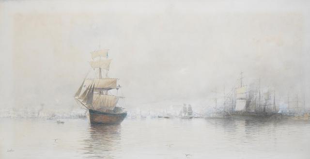 Spyridon Scarvelli (Greek, 1868-1942) Piraeus 39 x 75 cm.