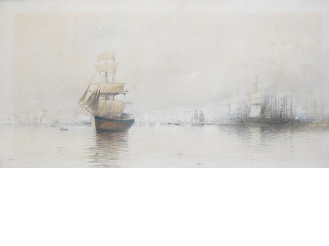 Spyridon Scarvelli (Greek, 1868-1942) Piraeus 40 x 76cm