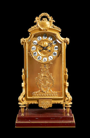 A third quarter 19th century French gilt bronze mantel clock by Barbedienne