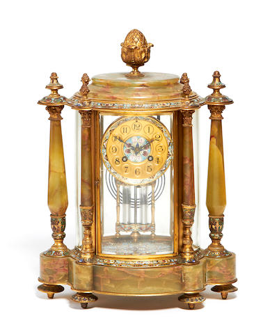A late 19th century French Algerian onyx, gilt metal and cloissoné enamel clock