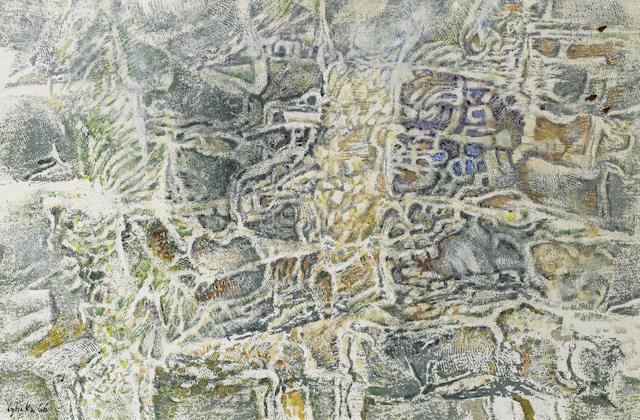 Nikos Hadjikyriakos-Ghika (Greek, 1906-1994) Tracing of a cliff I 40.5 x 60.5 cm.