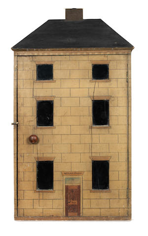 'Clevland school' painted wooden dolls house, English, circa 1880