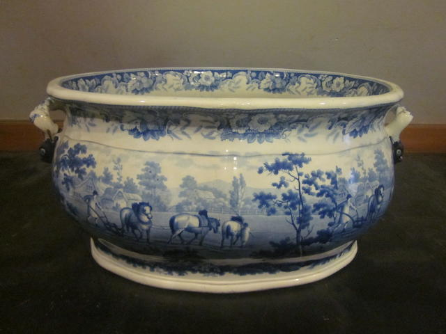 A large blue and white transfer printed footbath early 19th Century
