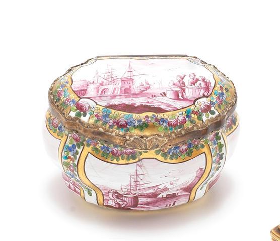 A German enamel snuff box, probably Dresden, second half 18th century