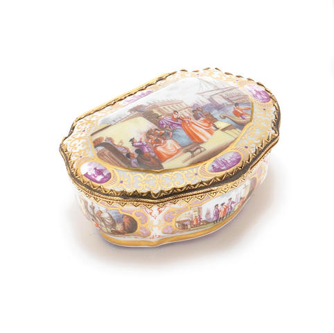 Meissen bombe snuff box, harbour scenes, assumed 19th century but subject to testing