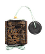 An early black lacquer small four-case inro  Momoyama Period