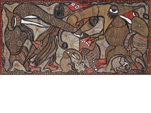"Twins Seven-Seven (Nigerian, 1944-2011) ""Rejoicing Beasts"" 1969.  Ink on cut plywood, 24 by 48 inches"
