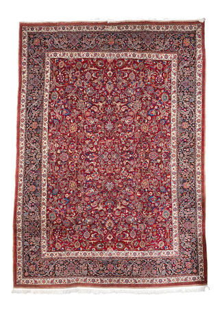 A Saber Mashed carpet, North East Persia, circa 1940, 13 ft 7 in x 9 ft 8 in (414 x 295 cm) signed, excellent condition