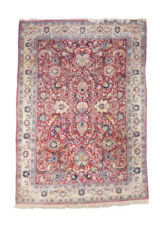 A part silk Tabriz carpet, North West Persia, circa 1920, 11 ft 7 in x 8 ft 4 ft (353 x 254 cm) some minor wear