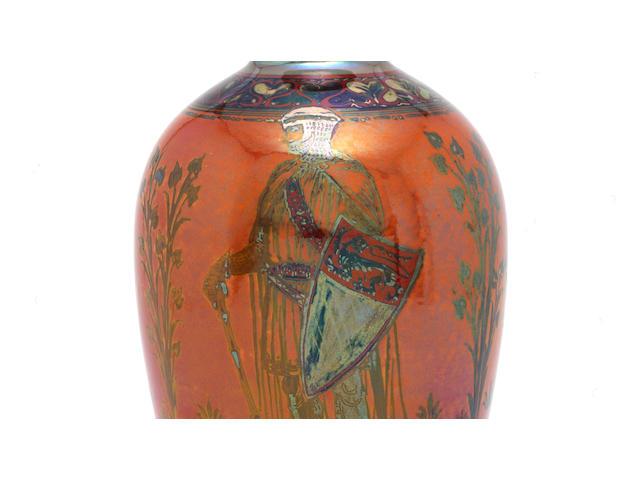 Richard Joyce for Pilkington Royal Lancastrian a Superb Lustre Vase with Heraldic Knights, circa 1910