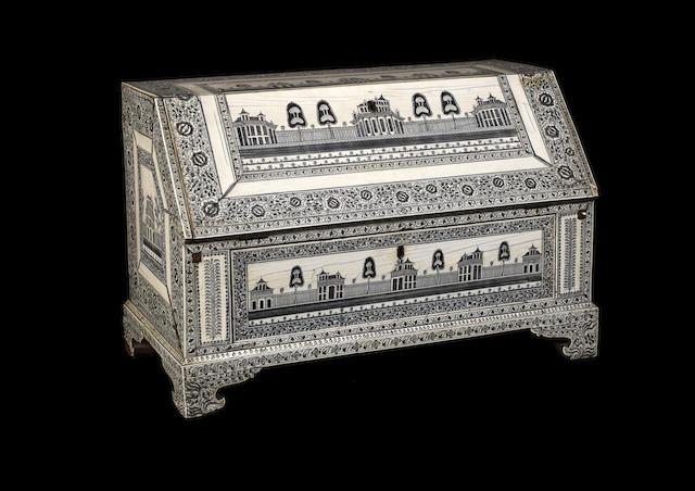 A late 18th century Vizagapatam ivory table bureau