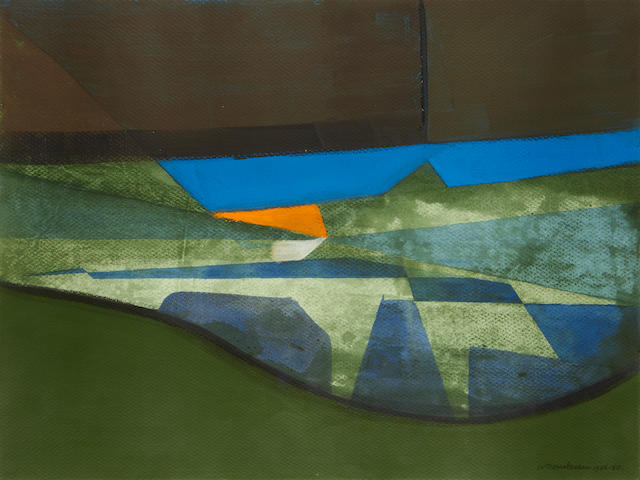 Wilhelmina Barns-Graham (British, 1912-2004) Brown and green with blue fly over