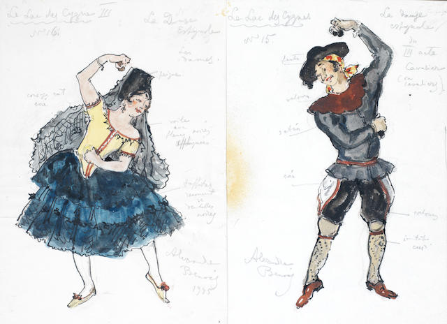Alexandre Benois (Russian, 1870-1960) Three costume designs for Swan Lake two works framed as one, size of one: 28 x 19.5cm (11 x 7 11/16in).