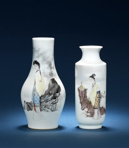 Two vases with a lady, by Fu Yaoshang