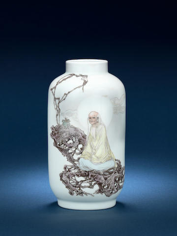 An enamelled cylindrical vase 20th century, inscribed Fu Yaoshang