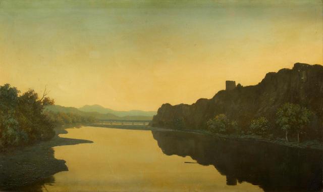 Algernon Cecil Newton (British, 1880-1968) View on the Loire 45.7 x 76.2 cm. (18 x 30 in.)