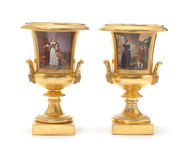 A pair of Paris gilt-ground campana vases, circa 1820