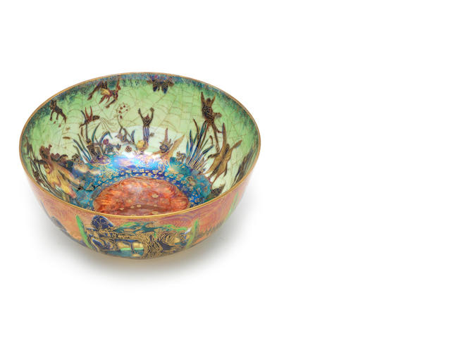 Daisy Makeig-Jones for Wedgwood 'Elves and Bell Branch' a Flame Fairyland Lustre Imperial Bowl, circa 1918