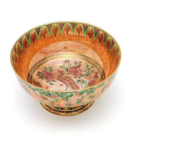 Daisy Makeig-Jones for Wedgwood 'Argus Pheasant' an Unusual Orange Lustre Punch Bowl, circa 1918
