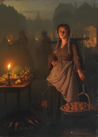 Petrus van Schendel (Belgian 1806-1870) Market by candlelight