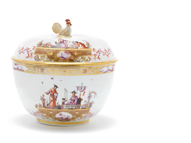 A Meissen tureen and cover with chinoiserie on podests (check dating tureen)