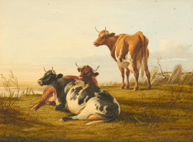 Thomas Sidney Cooper, RA (British, 1803-1902) Cattle resting by a river bank