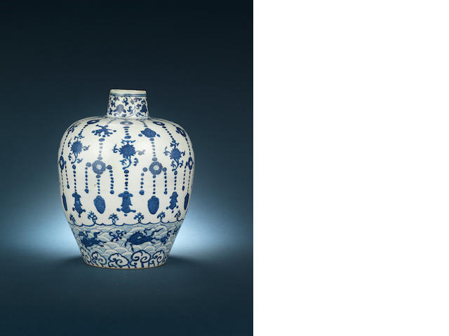 A blue and white baluster jar Jiajing six-character mark and of the period