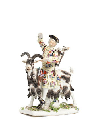 Meissen figure group - Count Bruhls tailor (repaired, some losses)