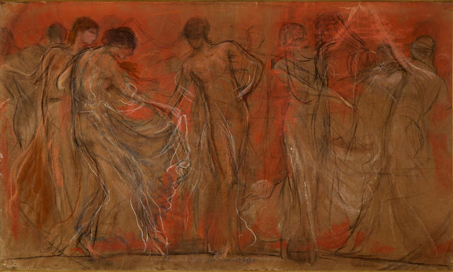Nicholaos Gysis (Greek, 1842-1901) The dance of the Muses / Musentanz 46.5 x 78.5 cm.