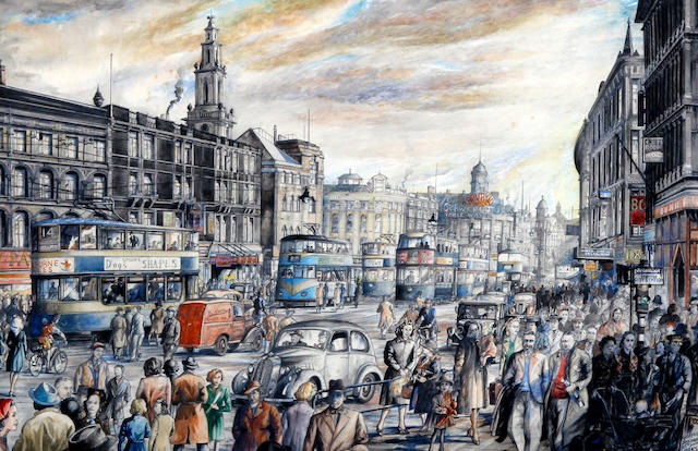 Geoffrey Jenkinson (British, born 1925) 'Leeds Yorkshire', Boar Lane - a bustling street with figures and trams