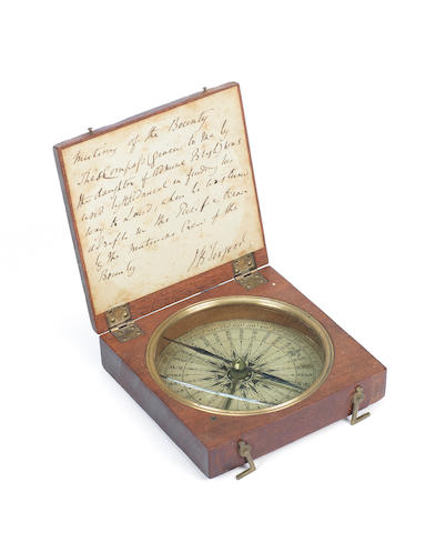 A cased mahogany pocket surveying compass relating to HMS Bounty English, 18th century,