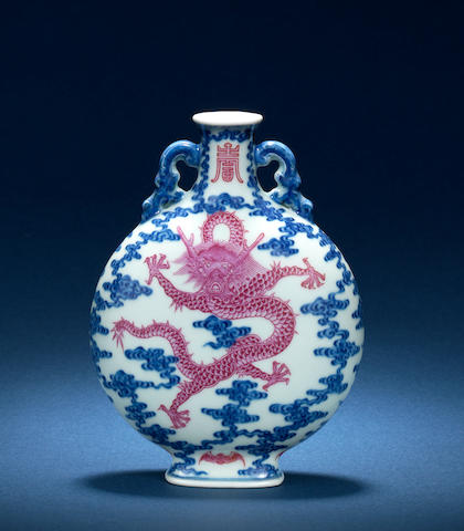 A rare underglaze blue and famille rose moonflask 18th/19th century