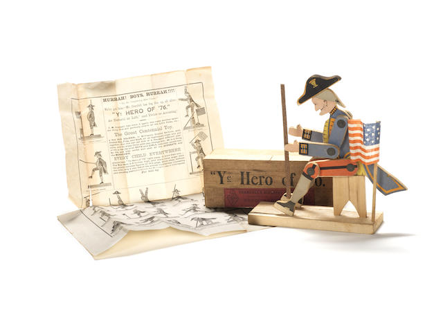"Crandall's ""Ye Hero of '76"" an early wooden soldier toy, American 1875"