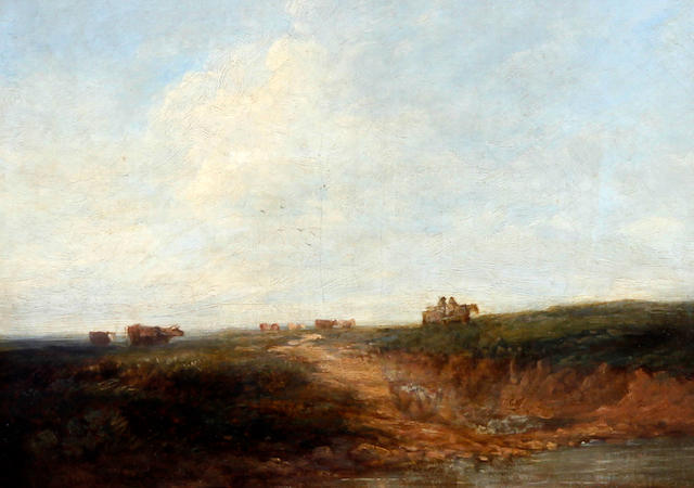 Follower of David Cox Snr., OWS (British, 1783-1859) Landscape with figures, horse and cart and cattle by a pond