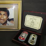 A Muhammad Ali hand signed picture and limited edition watch