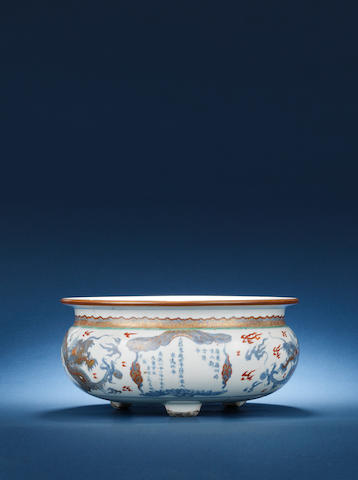 An underglaze blue and red-enamelled and gilt incense burner Kangxi, dated by inscription to AD1722 and of the period
