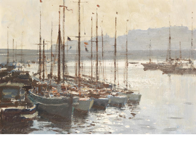 Edward Seago R.W.S. (British, 1910-1974) Yachts in Ramsgate Harbour 36 x 51 cm. (14 1/4 x 20 in.)