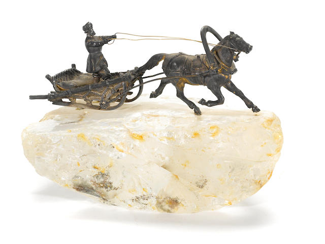 A Russian gilt silver and rock crystal, horse and sleigh
