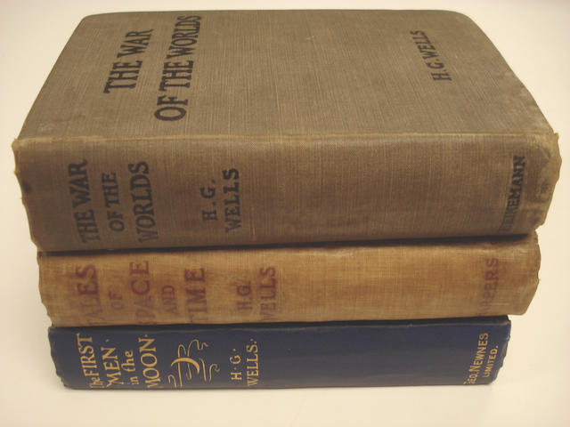 WELLS (H.G.) The War of the Worlds, 1898; Tales of Time and Space, 1900; The First Men in the Moon, 1901, FIRST EDITIONS (3)