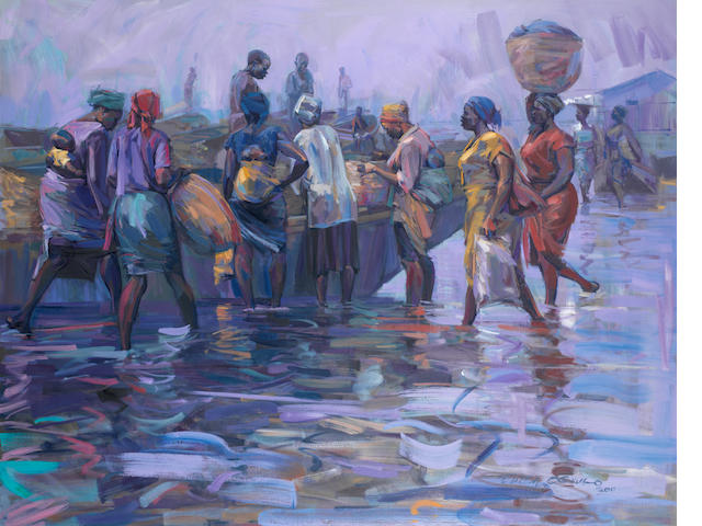 Edosa Oguigo (Nigerian, born 1961) Market Series - The Waterside