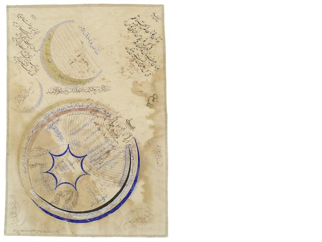 A Safavid diagram illustrating the seal of prophecy (muhri nubuwat), impressed on the shoulder of the Prophet Muhammad Persia, 16th/early 17th Century