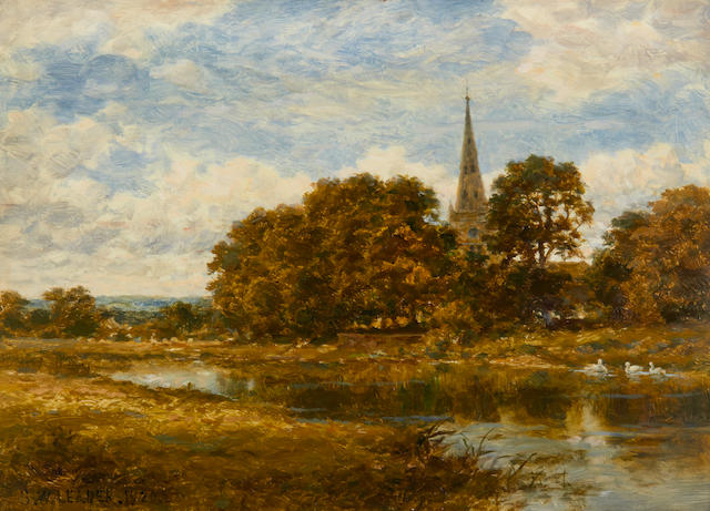 Benjamin Williams Leader, RA (British, 1831-1923) Church and river, Stratford on Avon
