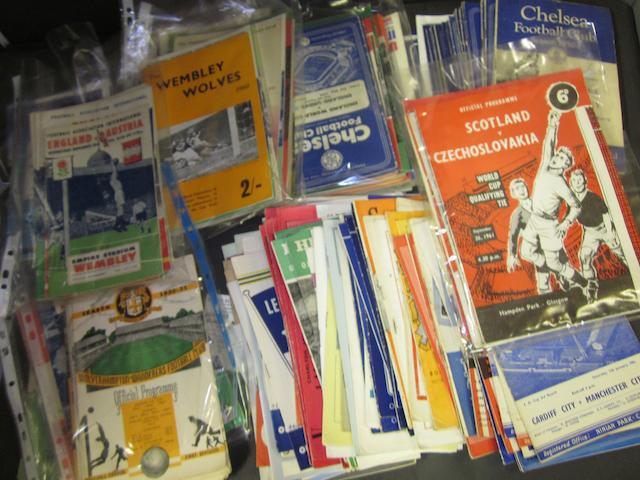 A large collection of 1950's to 1970's football programmes